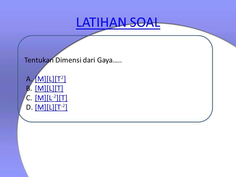 LATIHAN SOAL Tentukan Dimensi dari Gaya….. [M][L][T2] [M][L][T]